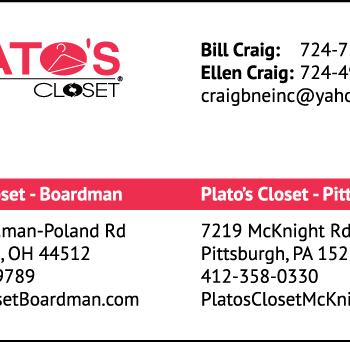 Plato's Closet Business Card 2 Addresses Horizontal